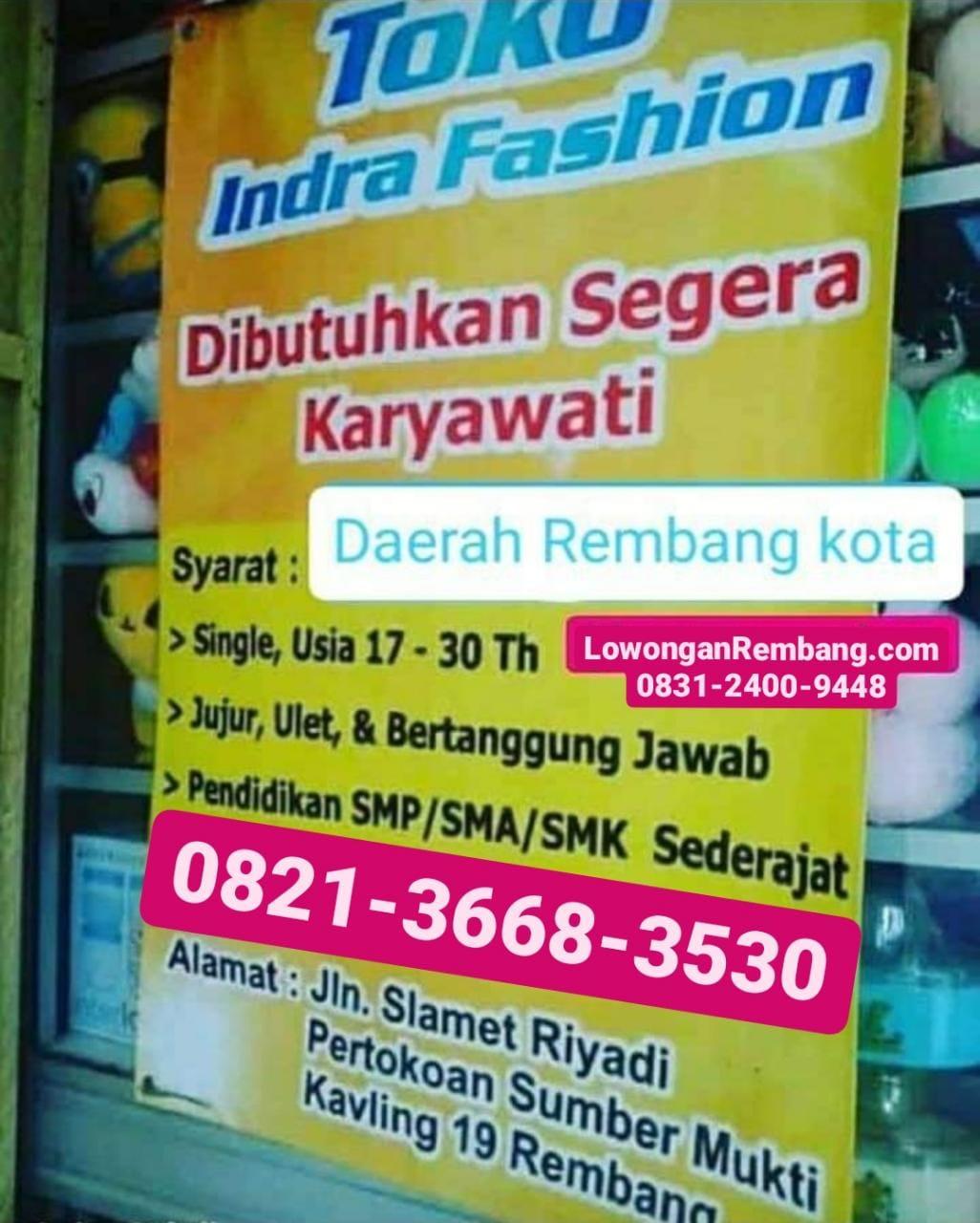 Lowongan Kerja Toko Indra Fashion Sumberjo Rembang