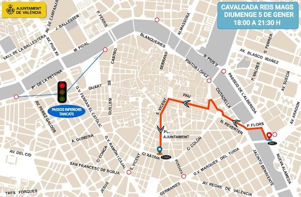 Horario e Itinerario Cabalgata de Reyes 2020 en Valencia