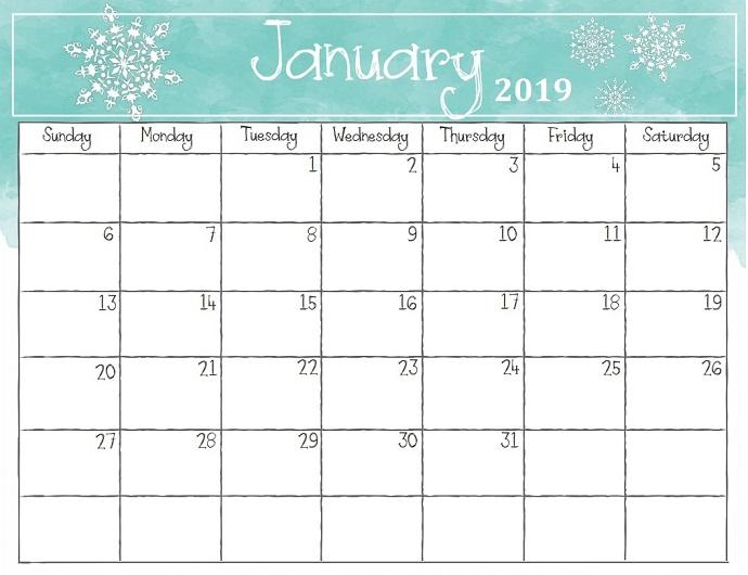 January 2019 Printable