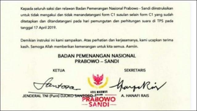 BPN Prabowo-Sandi Instruksikan Saksi Tak Tanda Tangani C1 Susulan