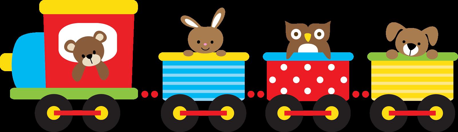 Clipart de Animalitos en Tren.