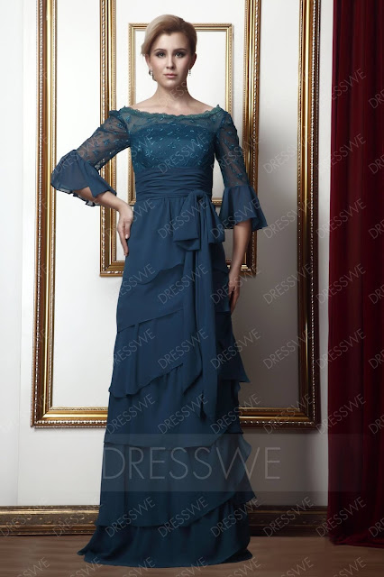 Lace Tiered Sheath/Column Scoop Floor-length Alina's Mother of the Bride Dress
