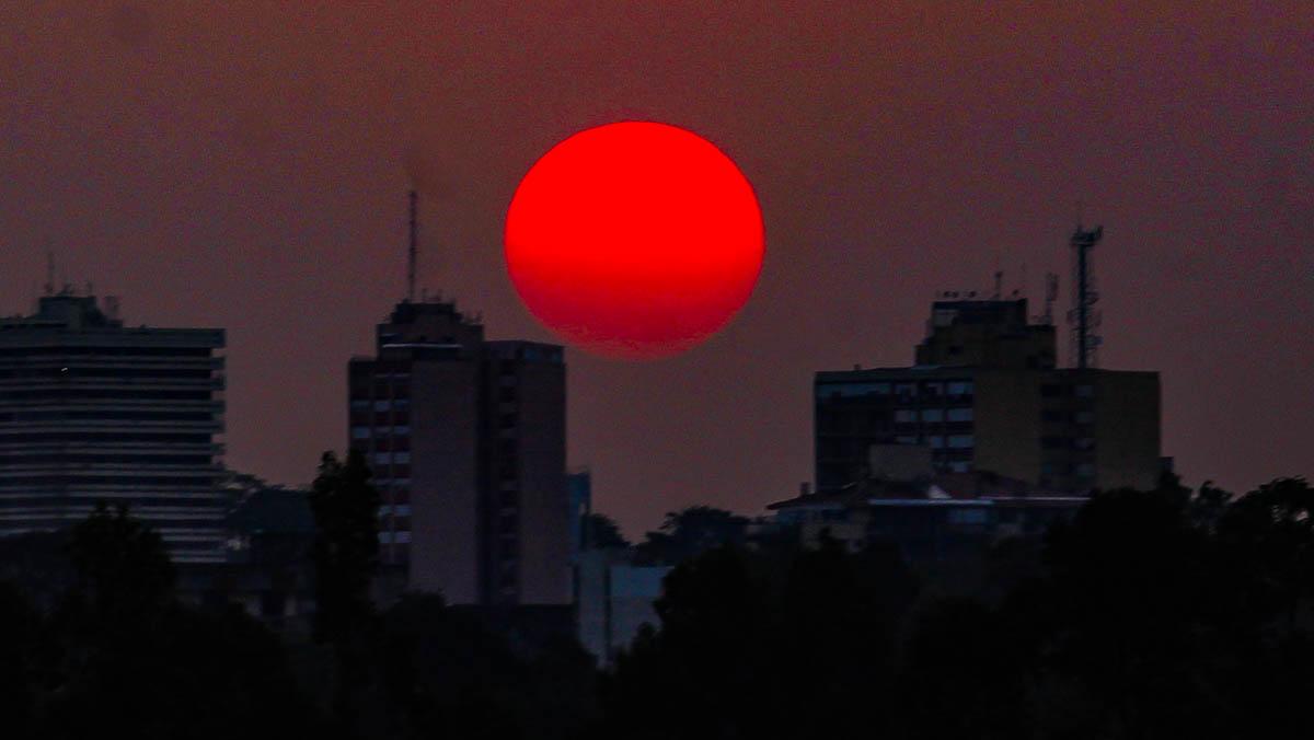 Pôr do sol na fronteira entre Brasil e Uruguai