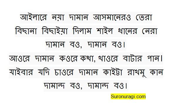 Noya Daman Lyrics (আইলারে নয়া দামান আসমানের তারা)