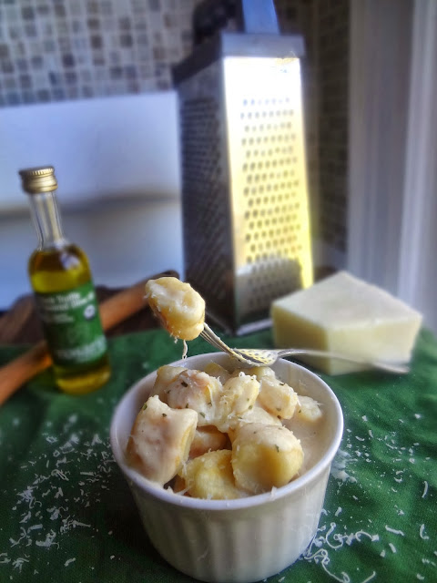 Toasted Ricotta Gnocchi with Parmesan Truffle Cream Sauce