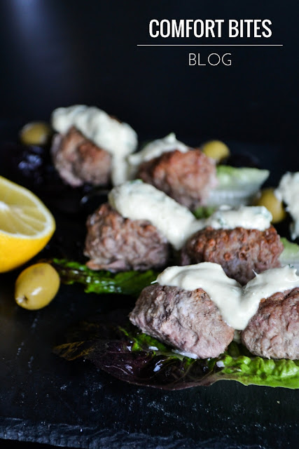 Lamb meatballs with lemon tahini dip