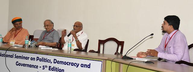 L to R: Arjun Ram Meghwal, T S Krishna Murthy, T K Rangarajan and Moderator S A Hariharan