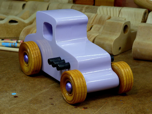 20170522-190053 Wooden Toy Car - Hot Rod Freaky Ford - 27 T Coupe - MDF - Lavender - Amber Shellac - Metallic Purple 01