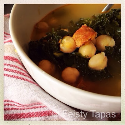 Thermomix recipe: Caldo (Spanish chicken broth with kale, chickpeas and chorizo)