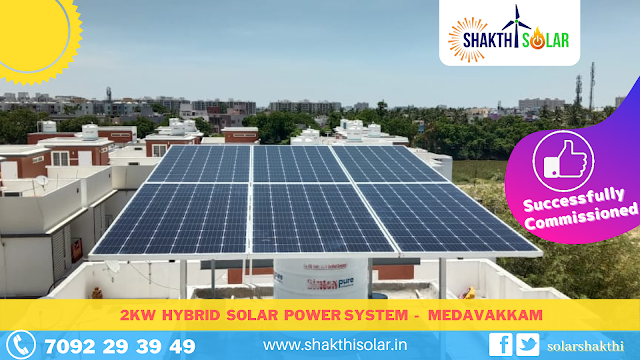 2 kw Hybrid Solar Energy System for home in Medavakkam - Chennai