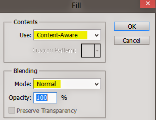 Content Aware in the Fill option under Edit Menu