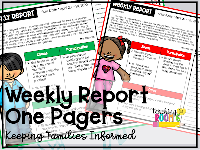 Weekly Report One Pager, perfect for distance learning