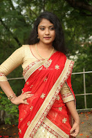 Akshara in Red Saree Golden Choli at LV Movie Makers Production No 1 Movie Opening ~  Exclusive 027.JPG