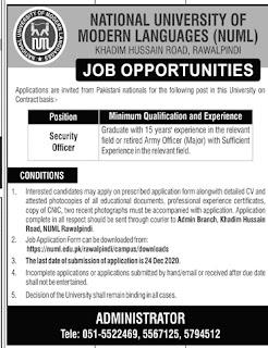 NUML Jobs Advertisement 2020, National University of Modern Languages
