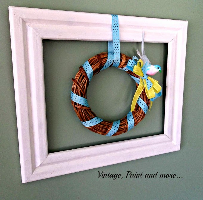 Framed Wreath - grapevine wreath, wreath in a thrifted frame, ribbon wrapped, wreath, chalk paint frame,