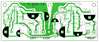 TDA2003 stereo amplifier PCB outline