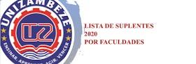 Lista de suplentes 2020 por faculdades - UNIZAMBEZE