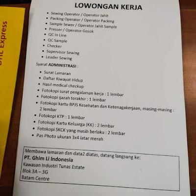 Kerjabatam.com PENGUMUMAN RESMI LOKER PT. Ghim Li Indonesia