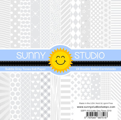 Sunny Studio Stamps: Subtle Grey Tones Gray & White Tone-on-Tone 6x6 Patterned Paper Pack