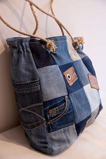 used denim, bags