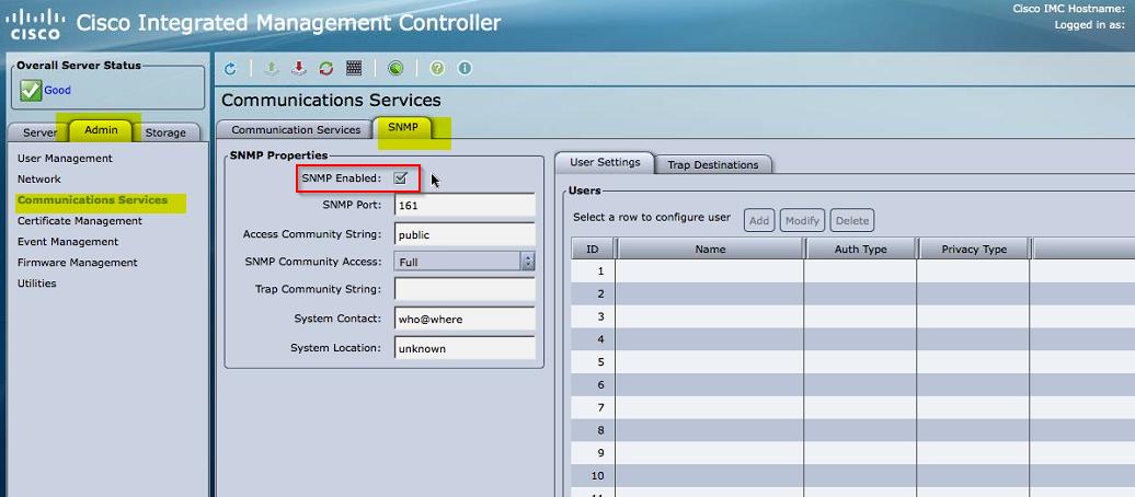 My way   : Cisco UCS C-Series servers CIMC SNMP configuration and
