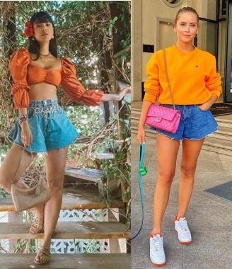 Tendência short jeans godê Gabriela Sales, Valentina Ferragni