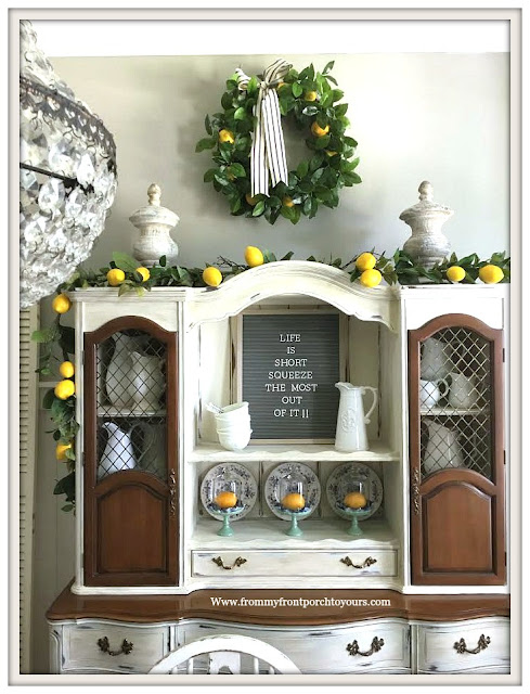 Late Summer Dining Room Decor-Lemon Garland-Vintage Hutch-Memo Board-From My Front Porch To Yours