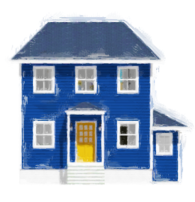 """The Blue House With The Yellow Door"" - Colorful Coastal Home Design"