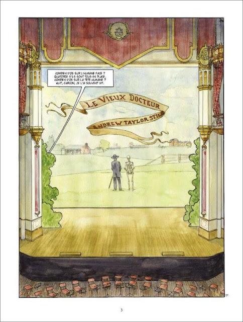 """page de """"Le Vieux docteur A.T. Still, Pionnier de l'osthéopathie"""" par Piatzszek et Blary chez Soleil"""
