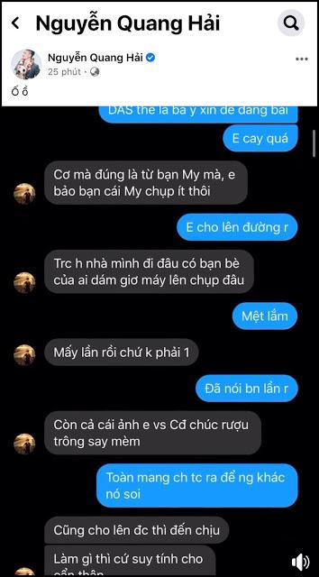 NÓNG: Facebook của Quang Hải bị hacker đột nhập, lộ đoạn tin nhắn nhạy cảm về chuyện yêu đương
