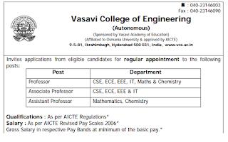 Vasavi College of Engineering Professor, Assistant Professor, Associate Professor Jobs recruitment 2019