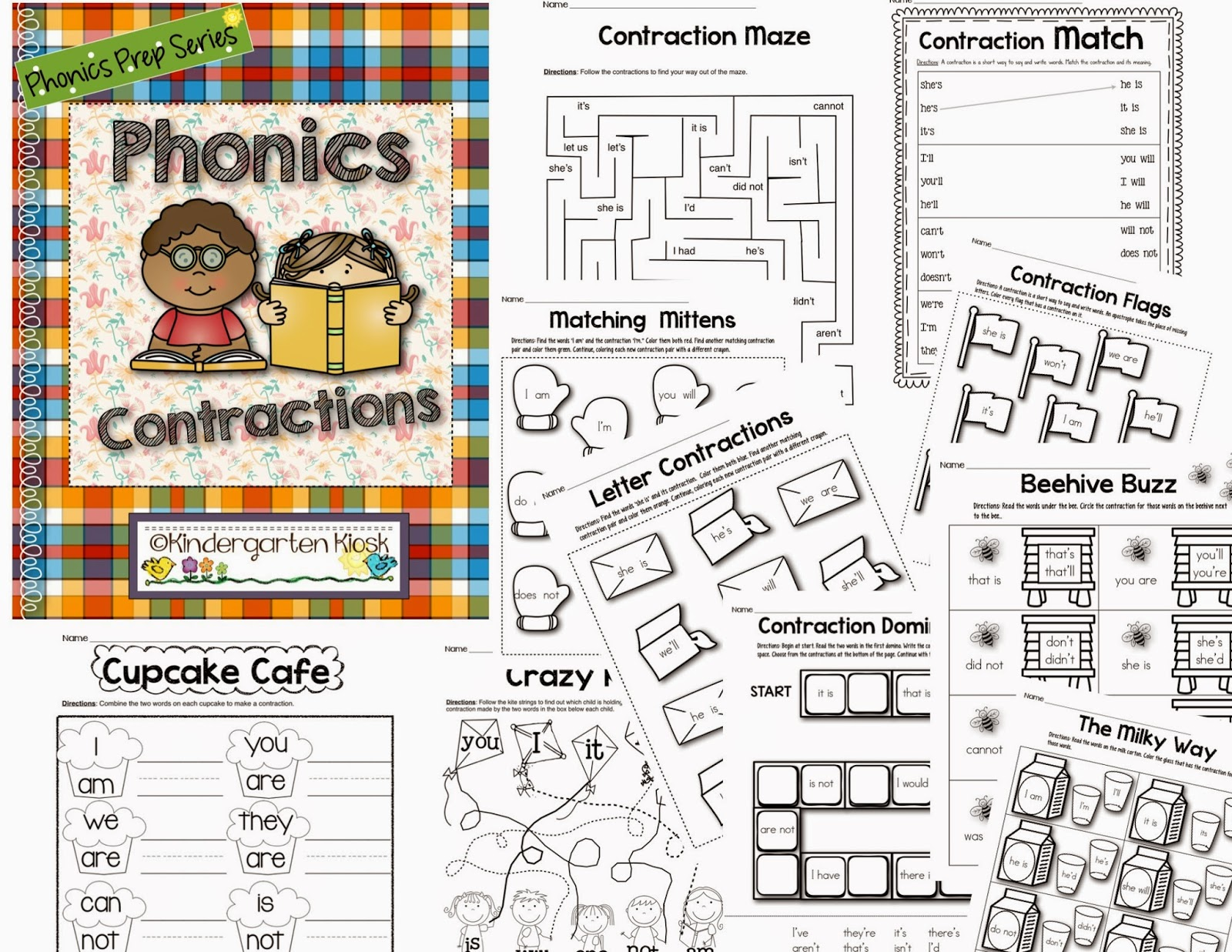 Kindergarten Kiosk Contraction Worksheets