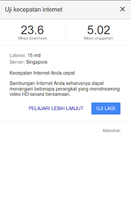 Mungkin kita semua terbiasa untuk menguji kecepatan internet dengan  Menguji Kecepatan Internet dengan Google Search