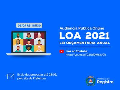 Audiência Pública para elaboração e discussão da LOA 2021 será online