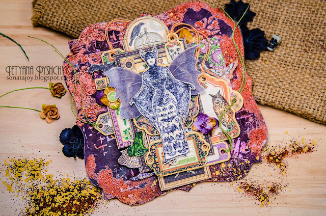 Mixed media Halloween Bat Woman wall hanging by Tanya SonataJoy