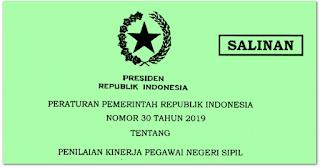 PP No 30 tahun 2019 tentang Penilaian Kinerja PNS