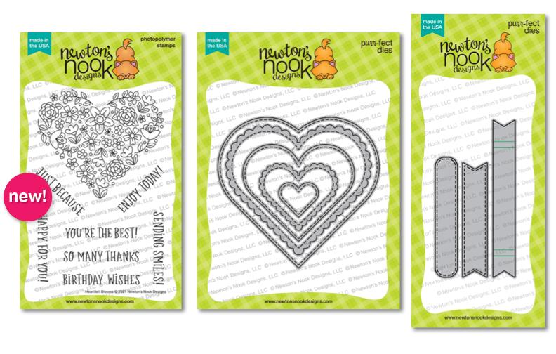 Heartfelt Blooms Stamp Set and Heart Frames & Banner Trio Die Sets by Newton's Nook Designs #newtonsnook