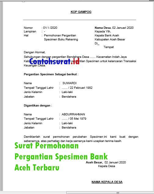 Contoh Surat Permohonan Pergantian Spesimen Bank Aceh