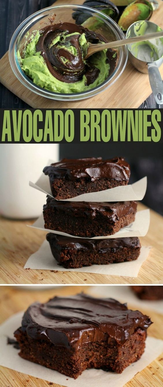 FUDGY AVOCADO BROWNIES WITH AVOCADO FROSTING #avocado #avocadobrownies #avocadofrosting #vegetarianrecipes #browniesrecipes #brownies