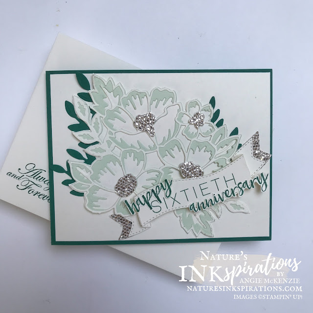 By Angie McKenzie for Stamping INKspirations Blog Hop; Click READ or VISIT to go to my blog for details!  Featuring the Many Layered Blossoms Dies, Floral Heart Dies, Be Dazzling Specialty Paper (Sale-a-Bration), Milestone Moments Stamp Set (retired) and So Sentimental Stamp Set (retired) by Stampin' Up!® to create a 60th anniversary card; #anniversarycard #manylayeredblossoms #floralheart #bedazzling #milestonemoments #sosentimental #60yearsofmarriage #stampinginkspirationsbloghop #naturesinkspirations #diamondanniversary #lifetimecelebrations #handmadecards #specialenvelopes