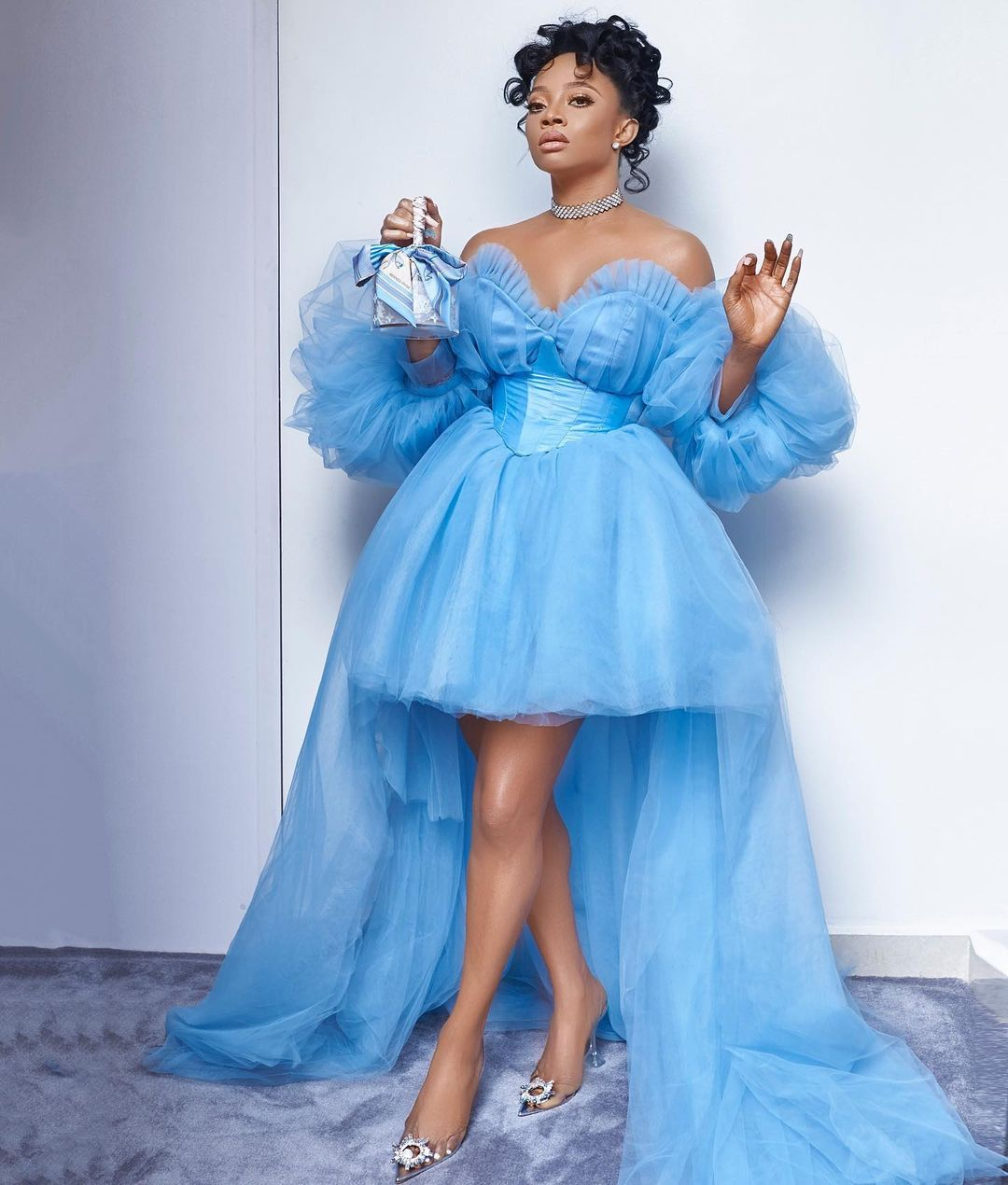 Tubo fairy tail princess custom made baby blue tulle dress