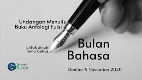 Undangan Menulis Antologi Puisi Bulan Bahasa Deadline 5 November 2020