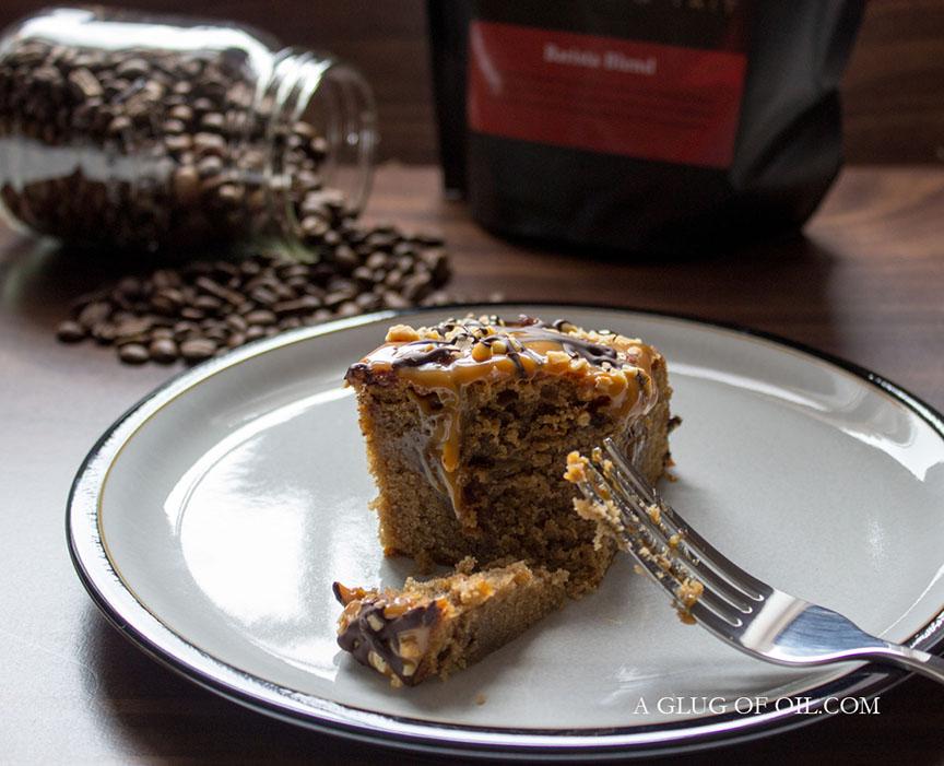 Coffee and caramel poke cake