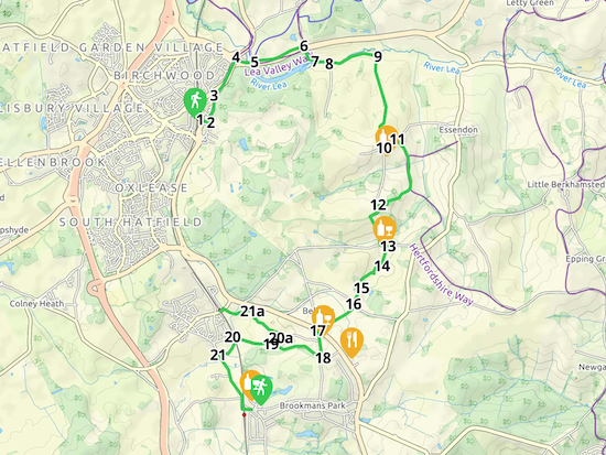 Map for Walk 23: Hatfield-Wildhill-Brookmans Park and Welham Green  Created on Map Hub by Hertfordshire Walker Elements © Thunderforest © OpenStreetMap contributors  An interactive map with KML and GPX data is embedded at foot of page