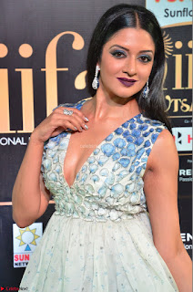 Vimala Raman in a Deep Neck White Shaded Sleeveless Gown ~  Exclusive 33.JPG
