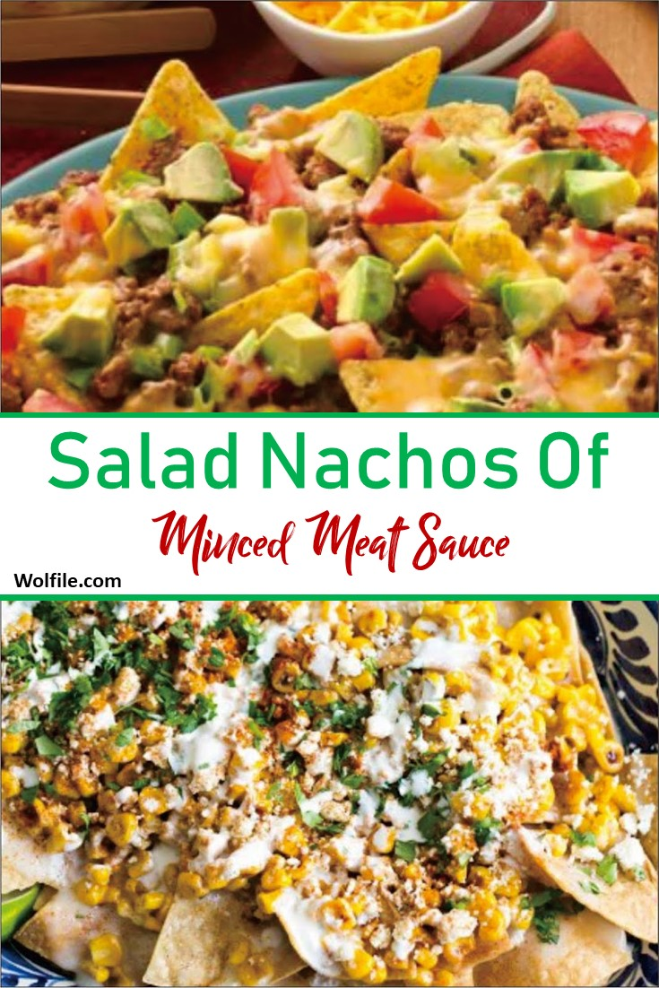 Salad Nachos Of Minced Meat sauce