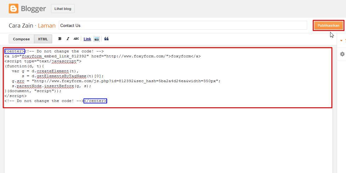 Contact Us Web Page >> Cara Membuat Form Halaman Contact Us Di Blog Terbaru Cara Zain