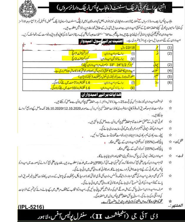 Punjab Traffic Police Jobs 2020