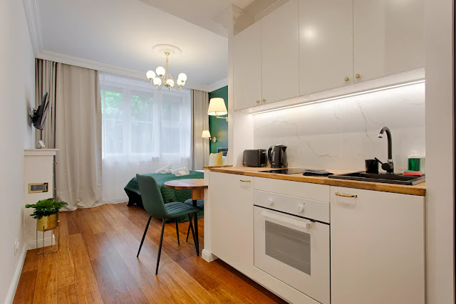 Best apartment krakow holiday rental short term fireplace, kitchenette, bamboo floor