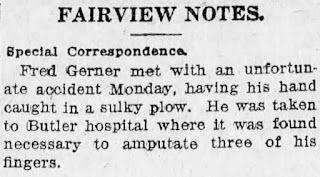 newspaper article about Fred Gerner having his fingers amputated in Butler Citizen, September 9, 1918, p. 3, col. 5